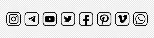 Popular social media logo set. editorial image. vinnitsia, ukraine. august 24, 2021