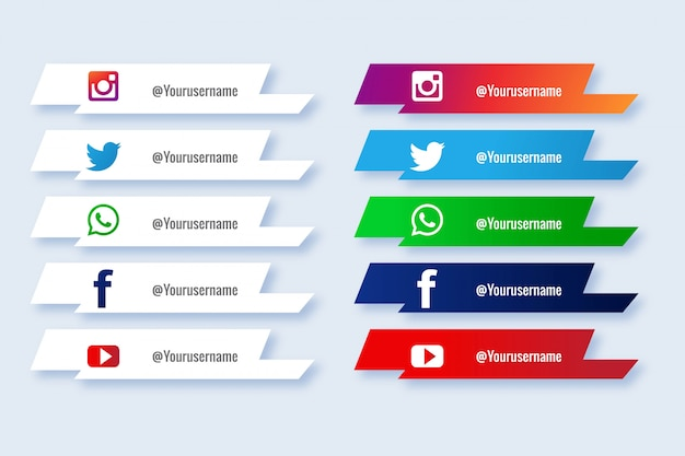 Popular social media lower third icon creative set