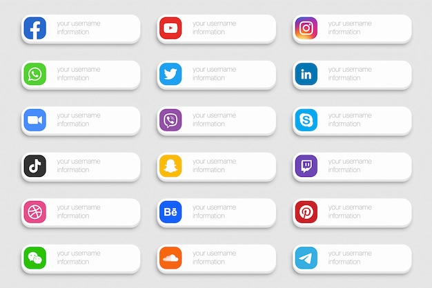 Popular social media network lower third icons 3d set isolated