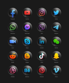Popular social media network modern 3d round black web icons