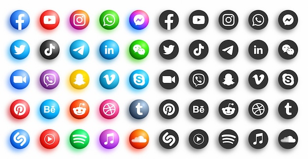 Popular social media network modern d round icons in different variations set on white background