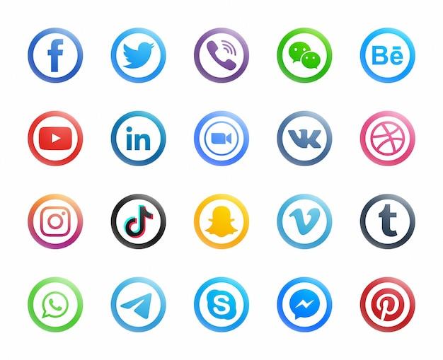 白い背景に設定された人気のソーシャルメディアラウンドモダンアイコン