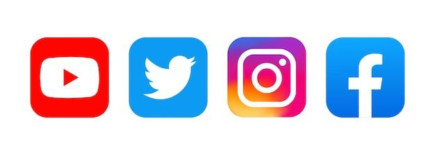 인기있는 소셜 네트워크 로고. 소셜 네트워크 기호입니다. 플랫 소셜 미디어 아이콘입니다. 현실적인 세트