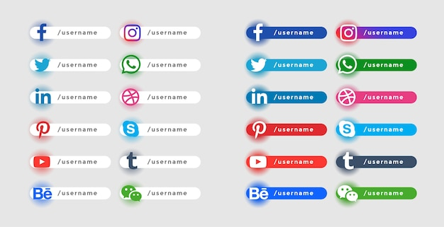 Popular social website icons lower third banners set