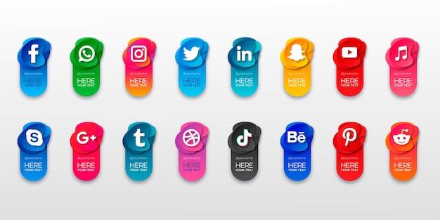 Le icone popolari del sito web sociale con banner impostano icone gratuite Vettore gratuito