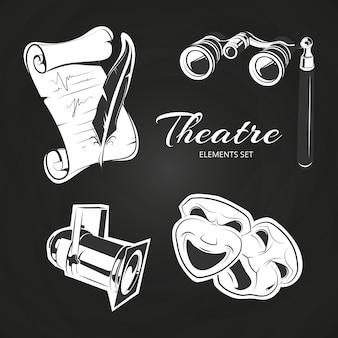 Popular theatre symbols set on chalkboard