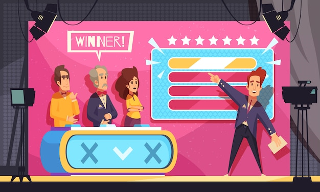 Popular tv guess word game television show final moment cartoon composition with host contestants winner