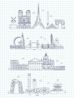 Popular word cities outline panorama on notebook page