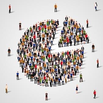 Отчет о демографии населения, круговая диаграмма, состоящая из людей.