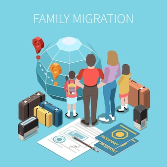 Population mobility and migration displacement isometric illustration