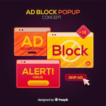 Popup banner collection ad block concept