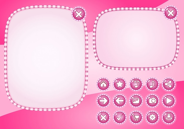 Popup style candy color pink and button for games.