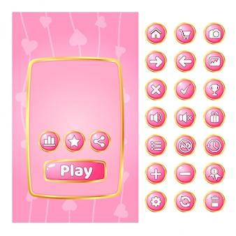 Всплывающее меню для игр границы золота и кнопки графического интерфейса.
