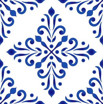Porcelain decorative pattern baroque and damask style
