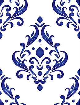 Porcelain floral decorative pattern baroque and damask style