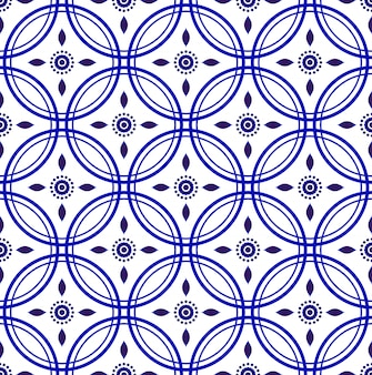 Porcelain indigo seamless pattern