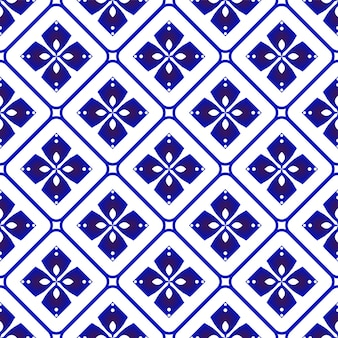 도자기 패턴 세라믹 원활한 장식 파란색과 흰색 현대 배경 디자인