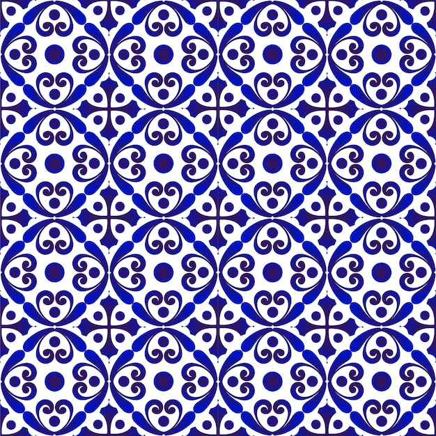 Porcelain pattern ceramic seamless decor blue and white modern background for design chinaware p