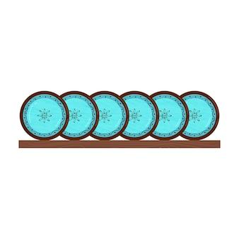 Посуда фарфоровая. керамическая посуда. векторные объекты на белом фоне.