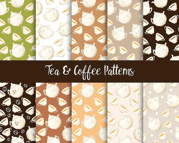 Porcelain teapot and tea cup seamless patterns set