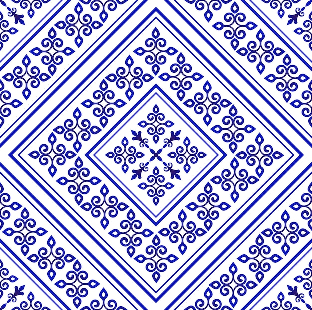 Porcelain wallpaper in baroque style, damask floral blue and white vases flower ornament, simple decoration art, ceramic tile pattern seamless vector, chinese machine design