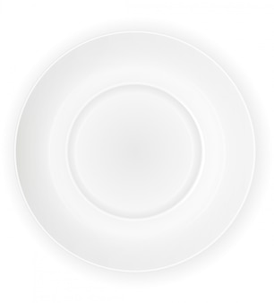 Porcelain white plate top view vector illustration