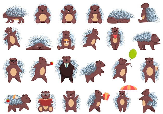 Porcupine icons set, cartoon style