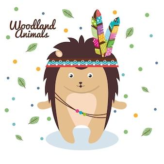 羽毛の王冠を持つヤマアラシの森林動物