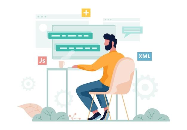 Программист сидит за столом и работает на переносном компьютере. рабочее место веб-разработчика. программное обеспечение. иллюстрация