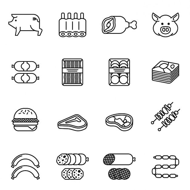 돼지 고기와 육류 제품 아이콘 세트입니다. 선 스타일 재고 벡터입니다.