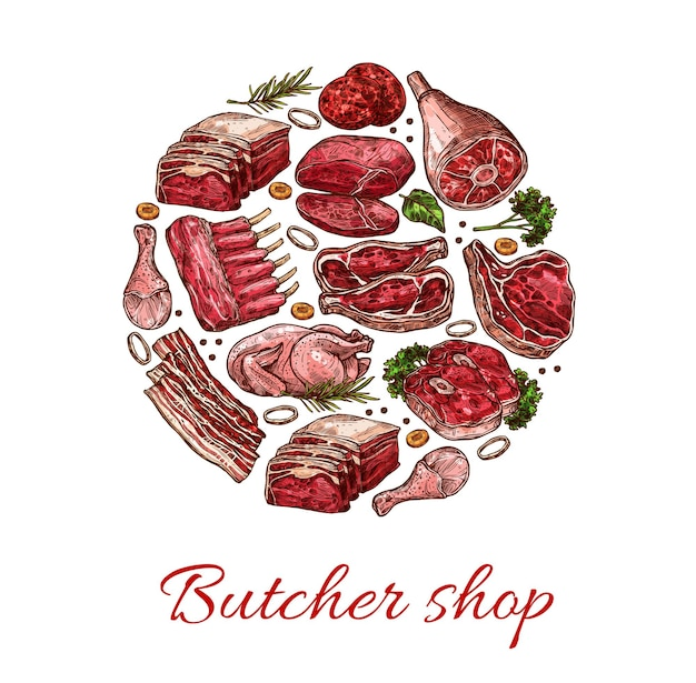 Pork, beef, lamb and chicken meat sketch of vector butcher shop meat food. beef steak, pork chops and ribs, bacon stripes, burger patties, chicken and lamb legs, herbs and spices, fresh meat design
