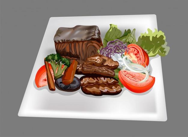 Pork and fish steak