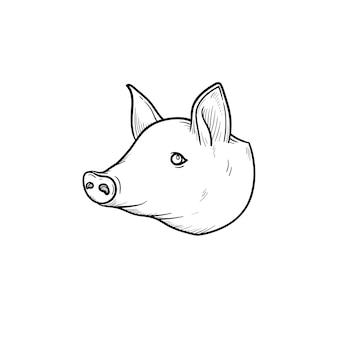 돼지고기 손으로 그린 개요 낙서 아이콘입니다. 흰색 배경에 고립 된 인쇄, 웹, 모바일 및 infographics에 대 한 돼지 주둥이 벡터 스케치 그림.