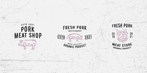 돼지고기 로고 디자인 템플릿 벡터 프리미엄, 돼지, 돼지고기, 돼지고기, 고기 가게, 신선한 고기, 정육점