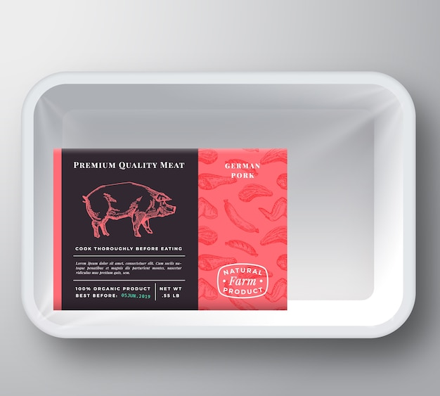 Pork plastic tray container packaging mockup