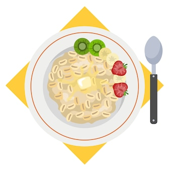 Porridge or oatmeal for breakfast. hot plate with tasty food.    illustration