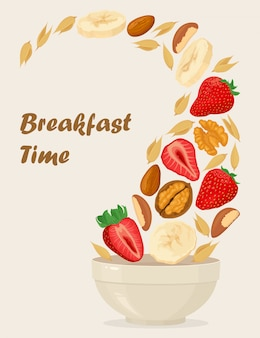 Porridge oats in bowl with bananas, berries, strawberry, nuts and cereals isolated