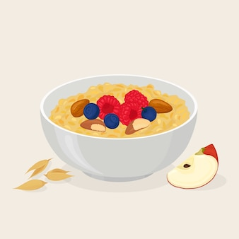 Porridge oats in bowl with bananas, berries, strawberry, nuts and cereals  on white background. healthy breakfast