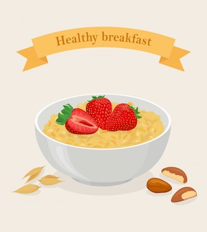 Porridge oats in bowl with strawberry, berries, nuts and cereals isolated on white background. healthy breakfast