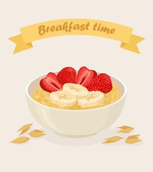 Овсяная каша в миске с бананами, ягодами, клубникой, орехами и хлопьями на белом фоне. здоровый завтрак