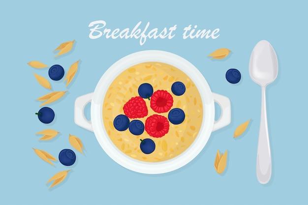 Овсяная каша в миске с ложкой, ягодами, малиной, орехами и хлопьями на фоне. здоровый завтрак