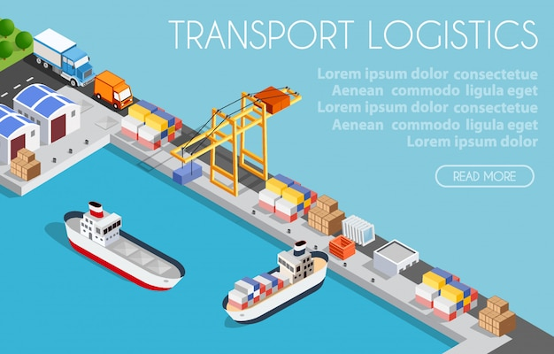 Port cargo ship transport logistics