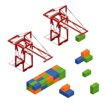 ポートクレーンとローディングカラー貨物コンテナアイソメビューコンセプト貨物輸送。ベクトルイラスト