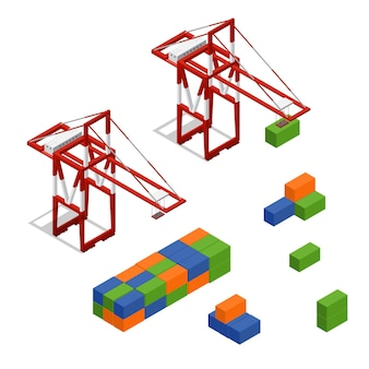 Port crane and loading color freight container isometric view concept cargo transportation . vector illustration Premium Vector