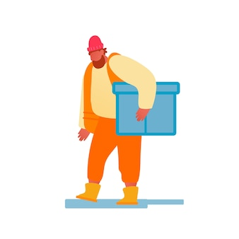 オレンジベストのポートハーバー労働者は大きな箱を運ぶ