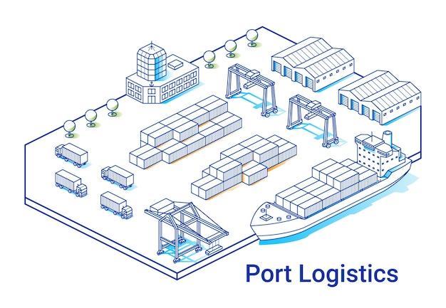 線形アイソメ図スタイルのポート物流イラスト。最小限のアートライン。船、コンテナー、クレーン、その他の建物のコンセプト。