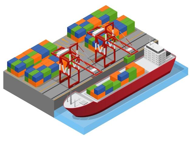 Портовый город и баржа изометрический вид, загрузка цветных грузовых контейнеров, концепция грузовых перевозок. иллюстрация