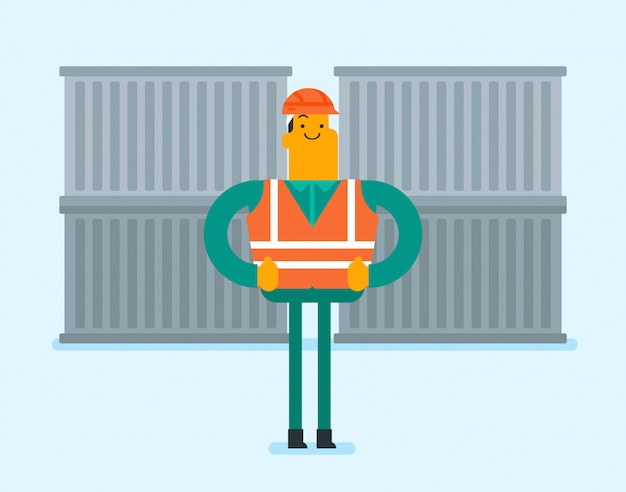 Port worker standing on cargo container background