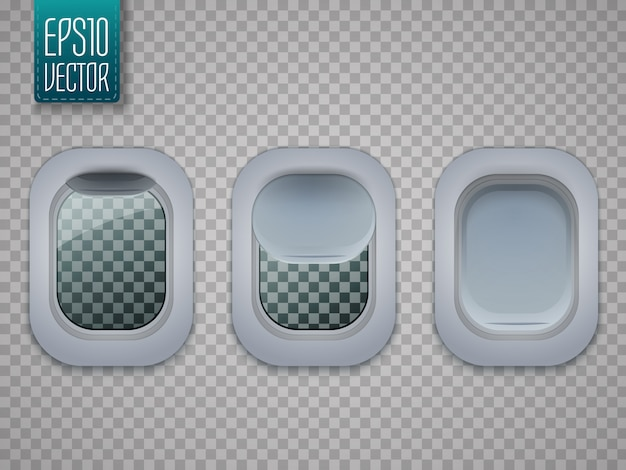 航空機の窓のセット。平面port窓が透明に分離されました。