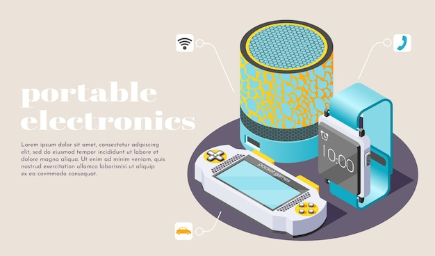 Portable electronics illustration with smart home speaker game boy for pocket games and  fitness bracelet isometric icons